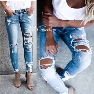Distressed Jeans Denim Ripped Frayed Pants NEW